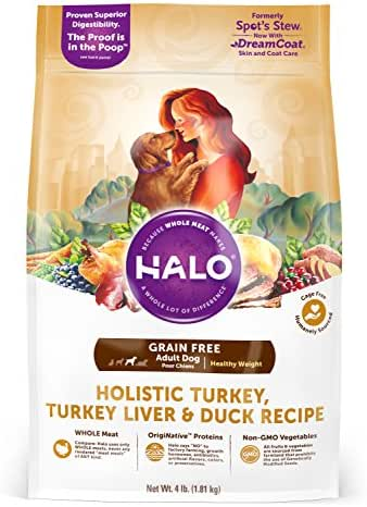 Halo Grain Free Natural Dry Dog Food, Healthy Weight Turkey, Turkey Liver & Duck Recipe, 4-Pound Bag
