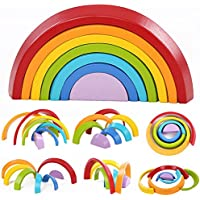 New 7 Colors Wooden Stacking Rainbow Shape Children Kids Educational Play Toy Set By KTOY