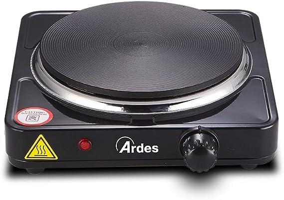 Ardes AR1F19 TIKAPPA F19 Cocina Eléctrica en Placa de Acero Pintado de 18,5 cm de Diámetro en Hierro Fundido con Termostato, 1500 W, Negro