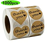Thank You Stickers, 1000 pcs Kraft Heart Shape