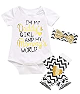 Kewlent Baby Girls' Gloden Heart Funny Letter Print Bodysuit Striped Leggings and Headband