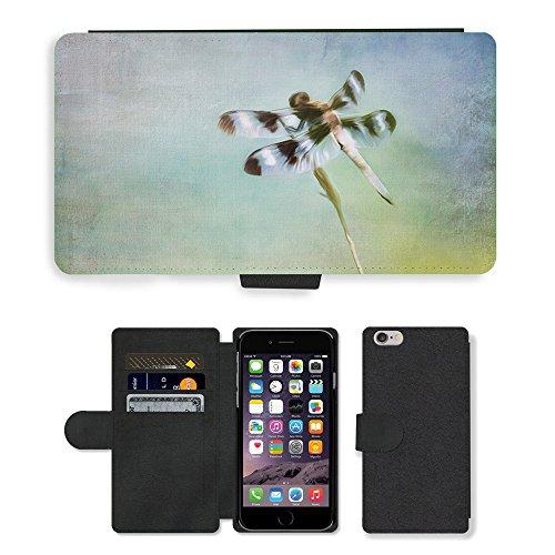 "Just Phone Cases PU Leather Flip Custodia Protettiva Case Cover per // M00128215 Peinture Dragon Fly insecte nature // Apple iPhone 6 4.7"""