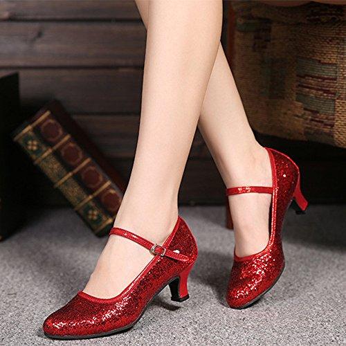 Mujer Toe Casual Rojo Tacón KINDOYO Baile Zapatos Alto Closed de Latino Estándar de Lentejuelas 7cITZ