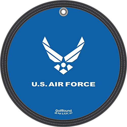 GolfRound Towel Pocket Golf Ball Cleaner (US Air Force Logo Royal) - Putting Air Force Green