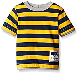 Gerber Graduates Boys Striped Short Sleeve T-Shirt, Gold/Navy, 24 Months