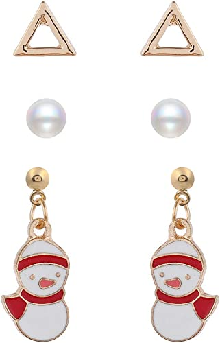 Fashion Women Xmas Pearl Deer Earrings Necklace Girl Christmas Gifts Set