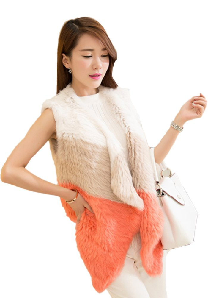 Queenshiny New Style Women's 100% Real Rabbit Fur Knitted Vest Gilet-Pink