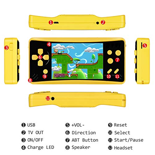 HigoKids Retro Classic Handheld Game Console Built in 218 Games AV Out Retro Childhood Family TV Video Game Controller 3.5 Inches LCD Large Screen 1 USB Charge Handheld Games for Adults-Lemon Yellow