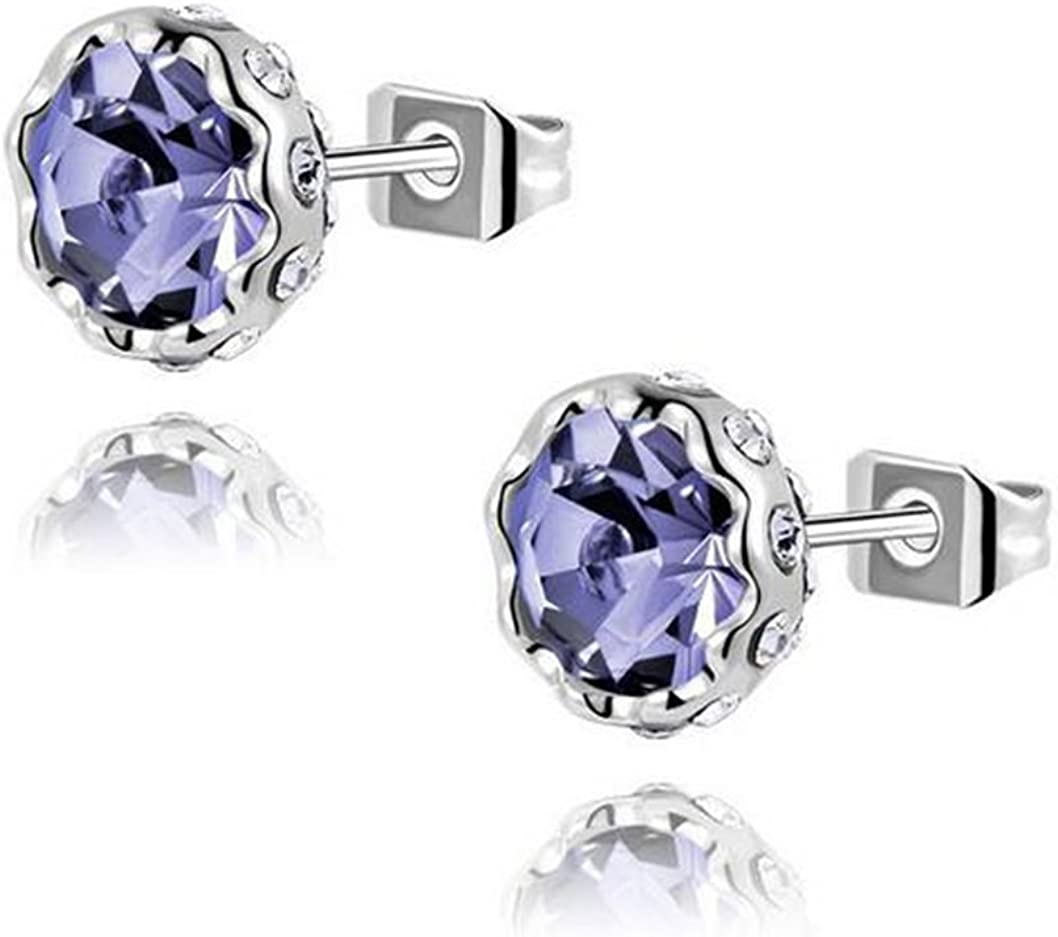 Gudeke Lotus Nieve Flor Pendientes Diamante Cristales Austriacos Aros Multicolores (Púrpura)