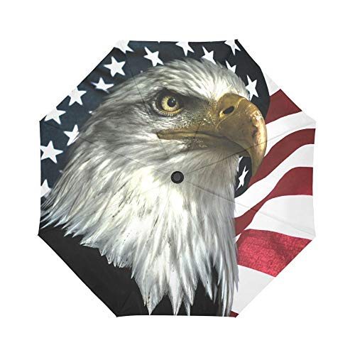 Harajuku Style East Eagle on American Flag National Symbol Windproof Compact One Hand Auto Open and Close Folding Umbrella, Rain & Outdoor Unbreakable Travel Umbrella (New American Eagle Deck)
