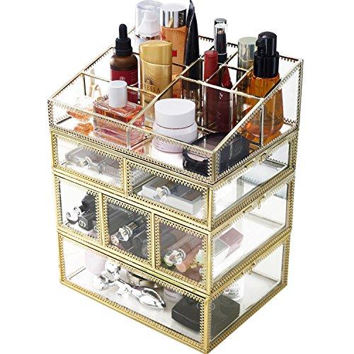 minopigo Antique Spacious Mirror Glass 6Drawers Vanity Tray Set/Gold Metal Cosmetic Makeup Storage/Stunning Jewelry Cube Organizer. It Consists of 4Separate Organizers Dustproof by minopigo (Image #3)