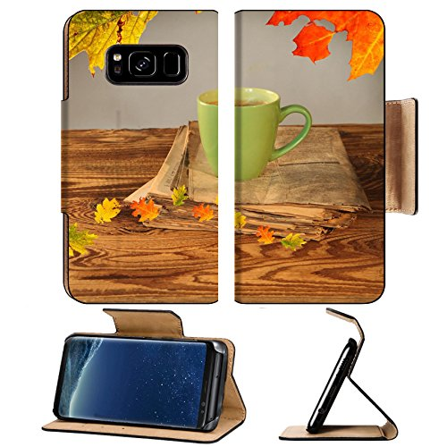 Liili Premium Samsung Galaxy S8 Flip Pu Wallet Case Cup of tea with autumn leaves reflection on newspaper wood Image ID 22759699