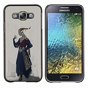 Caucho caso de Shell duro de la cubierta de accesorios de protecci¨®n BY RAYDREAMMM - Samsung Galaxy E5 E500 - Royal Gobernante Arte Rey Traje Vestimenta Peinado de oro