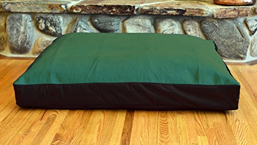 TETON DOG Premium FLEECE 100% Waterproof Washable DIY Design-It-Yourself Dog Bed Cover; Hypoallergenic Made in USA (Mission Green Fleece w Black, Medium/Large (36