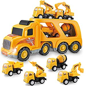 Best Epic Trends 513hXTUFa9L._SS300_ Construction Truck Toys for 3 4 5 6 Years Old Toddlers Kids Boys and Girls, Car Toy Set with Sound and Light, Play…
