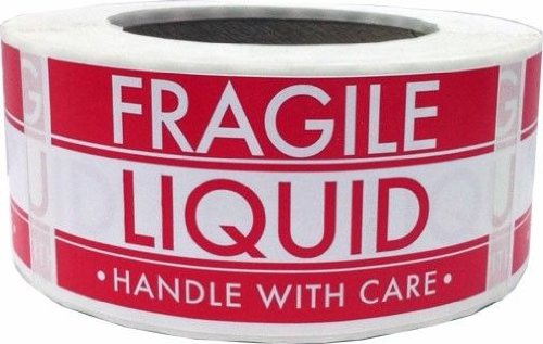 Fragile Liquid Handle With Care Warning Labels 2x 4