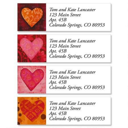 Personalized Heart Small Valentine's Day Address Labels - Set of 240 Self-Adhesive, Flat-Sheet labels