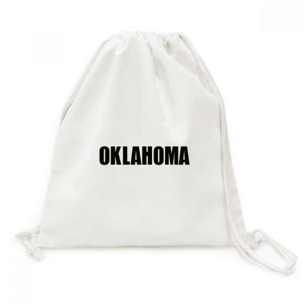 Oklahoma America City Name Canvas Drawstring Backpack Travel Shopping Bags