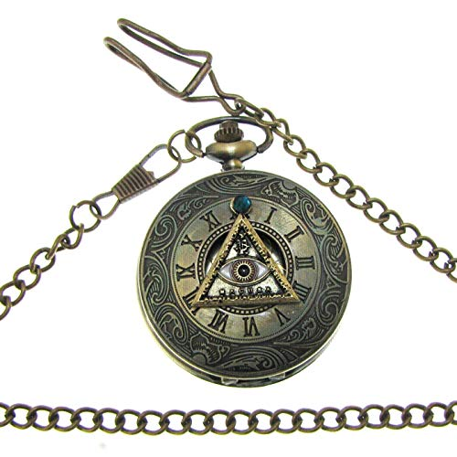 (Steampunk Fantastic Beasts Pocket Watch Necklace Wizards Evil Eye)