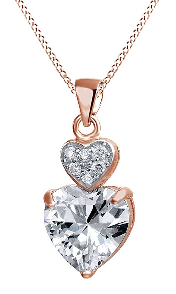 AFFY White Cubic Zirconia Two Hearts Drop Pendant Necklace in 14K Gold Over Sterling Silver