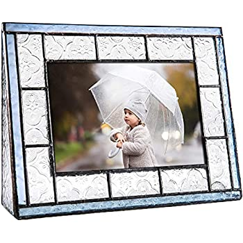 J Devlin Pic 159-46H Blue Glass Picture Frame Tabletop 4x6 Horizontal Photo Clear Vintage and Pale Blue