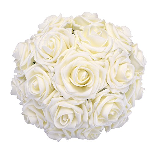 wers, 50pcs Real Touch Artificial Foam Roses Decoration DIY for Wedding Bridesmaid Bridal Bouquets Centerpieces, Party Decoration, Home Display (Delicate Type, Ivory) (Ivory Wedding Decoration Centerpiece)
