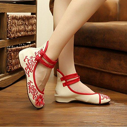 Bordado Girasol Nacional Clásicos Para Mujer Zapatos Oxfords Zapatillas Zapatillas De Baile Rojo