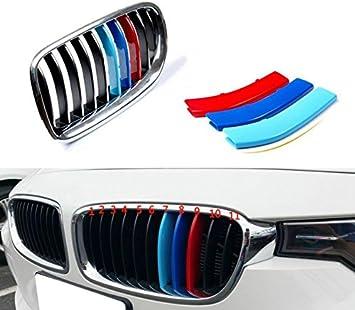 13 Grilles M-Couleur Avant Grille Garniture Kidney Clip Couverture Grill Autocollants pour 3 Series E92 E93 2 Doors 318i 320i 325i 328i 330i 335i 320d 325d 2009-2012 3 Pi/èces