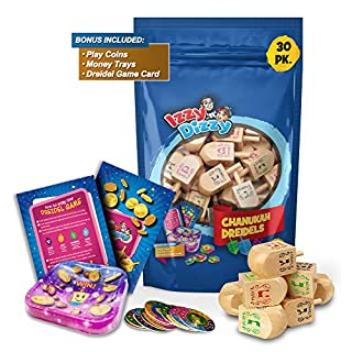 Izzy 'n' Dizzy 30 Medium Wood Dreidels - Classic Chanukah Spinning Draidel Game, Gift and Prize - Bulk Value Pack