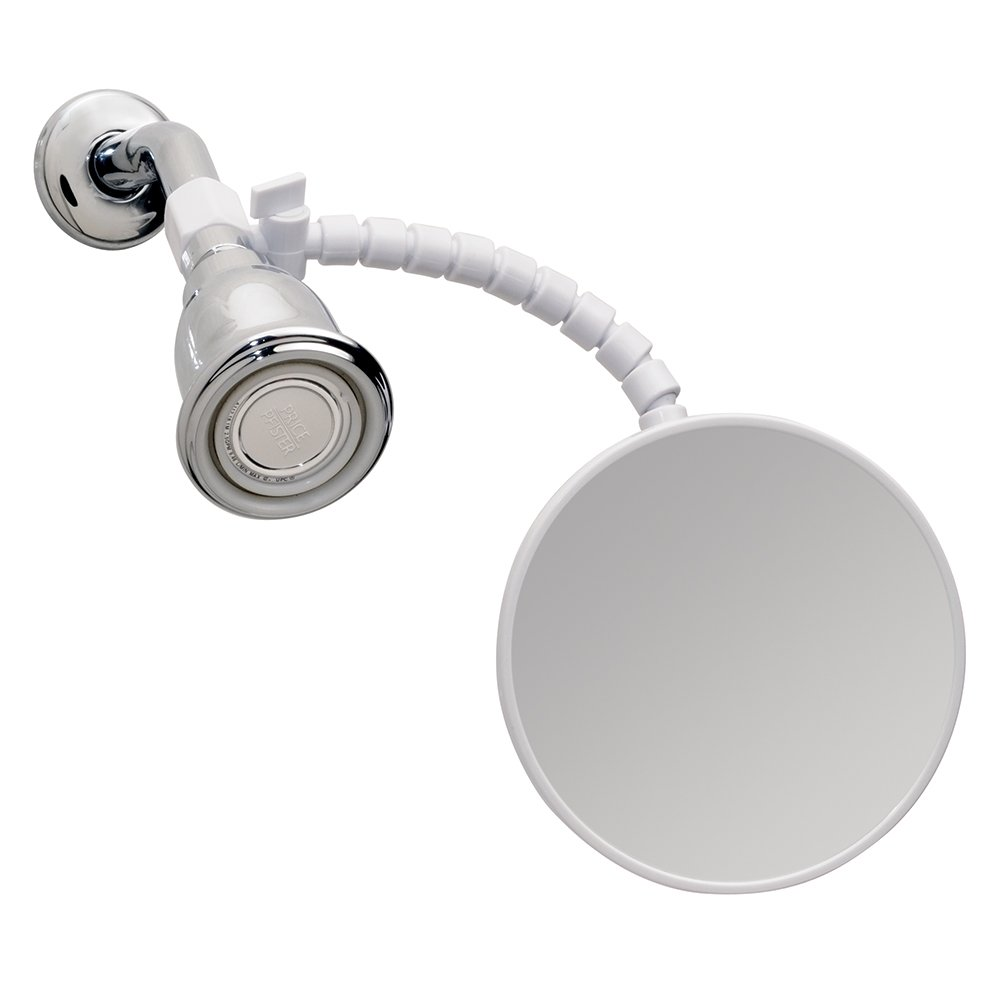 iDesign Fog-Free Small Shower Shaving Mirror with Flexible Arm, Fogless Mirror for Bathroom, Vanity, Bathtub, Wall, 14'' x 4.5'' x 5.82'', White by iDesign