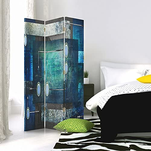 Feeby Frames Canvas Screen, Decorative Room Divider, Paravent, Single sided, 3 panels (110x180 cm) ABSTRACTION, CIRCLES, RECTANGLES, FRAMES, GREY, BLUE
