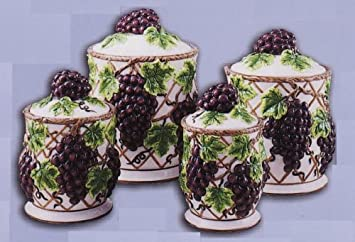 Grapes Kitchen Canisters Set Ceramic Fruit Theme Home Decor