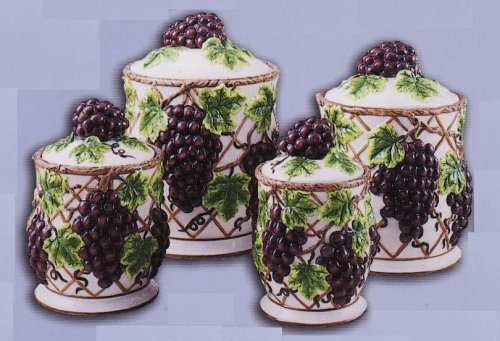 Delicieux Amazon.com   GRAPES Kitchen CANISTERS Set Ceramic Fruit Theme Home Decor    Kitchen Storage And Organization Product Sets
