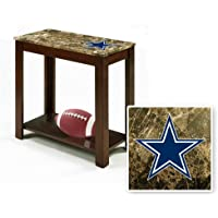 Rectangular Top Espresso / Cappuccino Finish Night Stand End Table with Faux Marble Table Top Featuring Your Favorite Football Team Logo! (Cowboys)