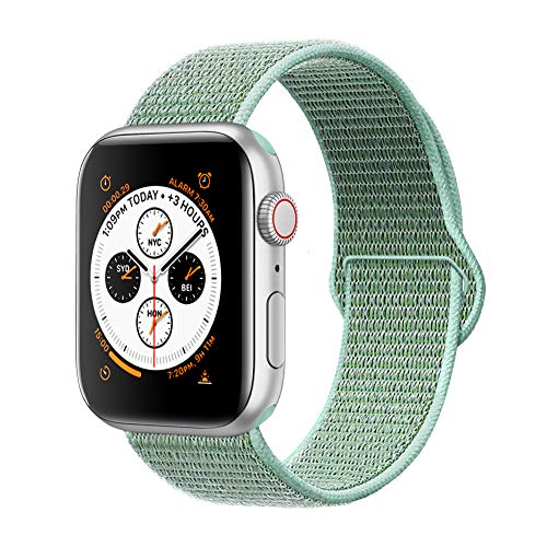 (AdMaster Compatible for Apple Watch Band 42mm 44mm, Soft Nylon Sport Loop Replacement Wristband Compatible iWatch Apple Watch Series 4/3/2/1 Marine Green )