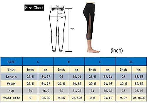 Imido Women's Yoga Capri Legging Mesh Tights Sport Workout Running Pants with Pocket