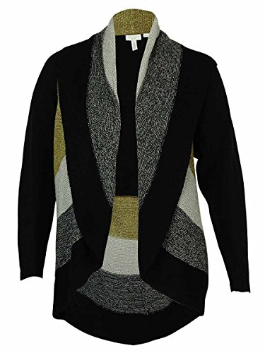 Charter Club Womens Plus Metallic Open Front Cardigan Sweater Black 1X