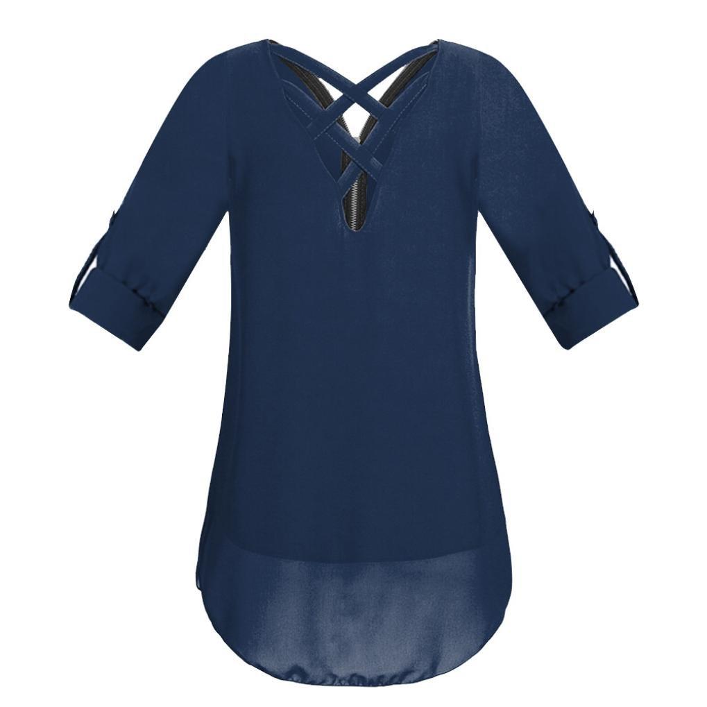 Tops con Cuello en V para Mujer Cremallera Pure Color Camisetas de Gasa Tops Sueltos Ocasionales Blusa de Túnica 2018 ❤ Manadlian: Amazon.es: Ropa y ...