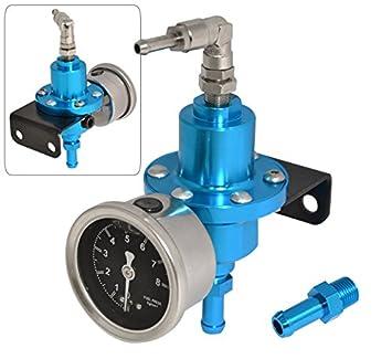 Universal Red Adjustable Fuel Pressure Regulator Gauge JDM FPR 1:1 0-140 PSI