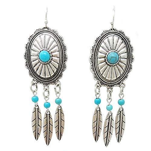 (Western Concho Feather Dangling with Turquoise Fish Hook Earring Navajo (Silver Burnish))