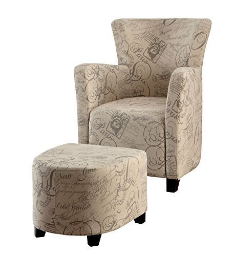 Furniture of America Bello Contemporary Wingback Chair with Ottoman, Ivory