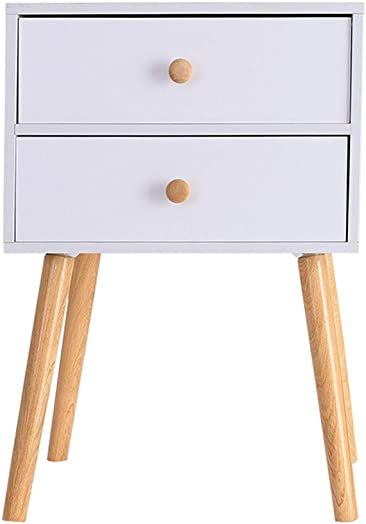 Pentaero North American Modern Minimalist Dedside Cabinet Storage, Solid Wood Legs Night Stand, Wood Multi-Purpose Home Furniture Side End Table Storage Cabinet with 2 Drawers WH
