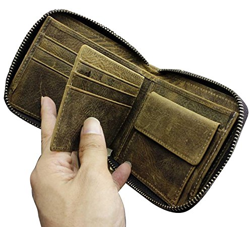 Zipper Biker Money w Leather Metal Vintage Chain Credit Mens Coin Wallet Card p1q6tx