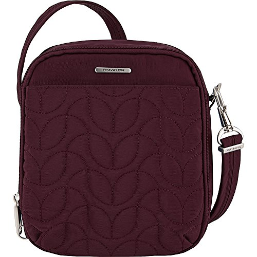 Travelon Anti-Theft Quilted Tour Bag - Exclusive (Dark Bordeaux/Dusty Rose by Travelon