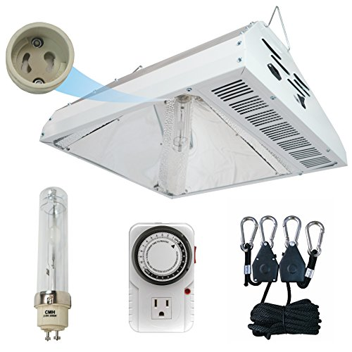 Hydroplanet™ 315W Grow Light Ceramic Metal Halide Fixture With 3100K Bulbs light hanger and timer. (315 3K KIT) For Sale
