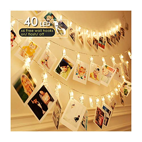 ANJAYLIA LED Clip Photo String Lights, Battery Operated Fairy Lights Warm White 16.4ft 40LED Hanging Polaroid Pictures Photos, Ideal Gift for Her Christmas Dorms Bedroom Decoration