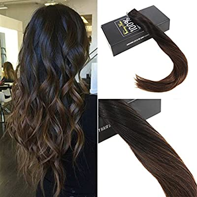 Sunny 14inch 20pcs 50g Two Tone Color#2 Fading to Dark Brown Mixed Honey Blonde Colorful Highlight Balayage Seamless Tape in Human Hair Extensions