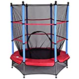 "Giantex 55"" Round Kids Mini Jumping Trampoline W/Safety Pad Enclosure Combo (Multicolor)"