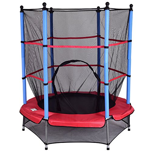 Giantex 55 Round Kids Mini Jumping Trampoline W/Safety Pad Enclosure Combo (Multicolor)