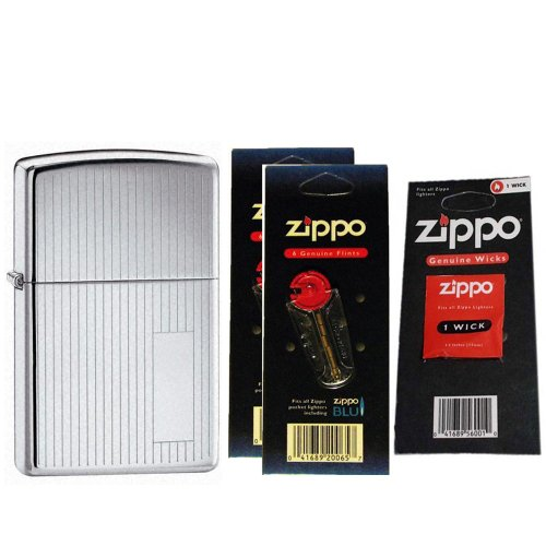 Engine Turned High Polish - Zippo 350 Classic High Polish Chrome Engine Turned Windproof Pocket Lighter with Two Flint Card and One Wick Card